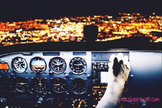 cabina de un avión con una mano en el control de mandos porque está aprendiendo a cómo controlar las emociones y sentimientos, por el cristal se ve una ciudad de noche